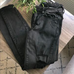 AE Distressed Black Skinny Jeans